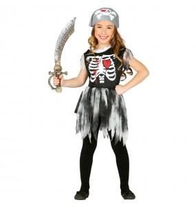 Vestito Scheletro pirata bambine per una festa ad Halloween