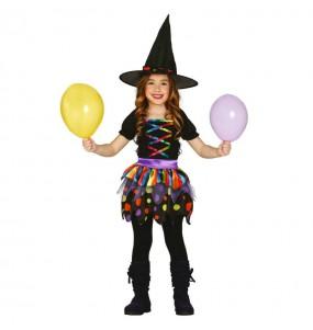 Vestito Strega multicolore bambine per una festa ad Halloween