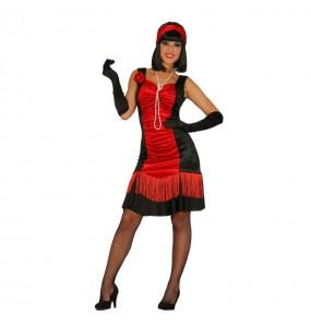 Travestimento Charleston nero e rosso donna per divertirsi e fare festa