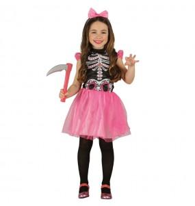 Vestito Scheletro tutù rosa bambine per una festa ad Halloween