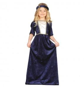Travestimento Donna medievale blu bambina che più li piace