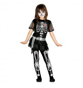 Vestito Scheletro deluxe bambine per una festa ad Halloween