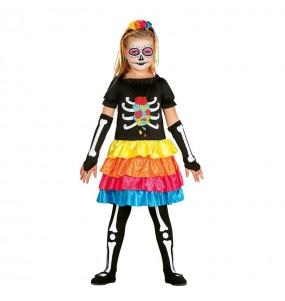 Vestito Catrina messicana colorata bambine per una festa ad Halloween
