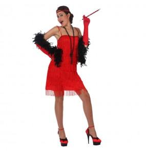 Travestimento Charleston frange rosso donna per divertirsi e fare festa