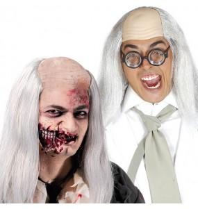 La più divertente Parrucca Zombie calvo con i capelli per feste in maschera