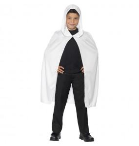 Mantello bianco con cappuccio per bambini