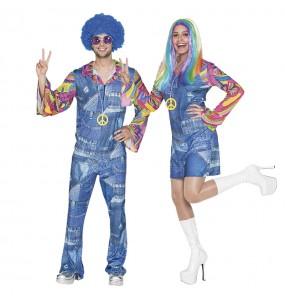Travestimenti coppia Hippies Jeans divertenti per travestirti con il tuo partner
