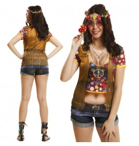 Travestimento T-shirt Hippie donna per divertirsi e fare festa