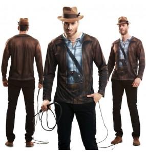 Travestimento T-shirt Indiana Jones adulti per una serata in maschera