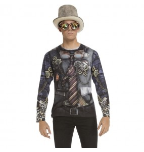 Travestimento T-shirt Steampunk adulti per una serata ad Halloween