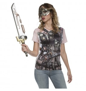 Costume T-shirt Steampunk donna per una serata ad Halloween
