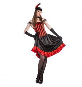 Travestimento Ballerina di Can Can Rosso donna per divertirsi e fare festa