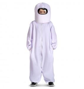 Costume da Among Us bianco per bambino
