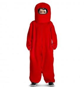Costume da Among Us rosso per bambino