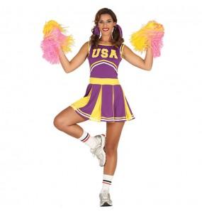 Travestimento cheerleader degli Stati Uniti donna per divertirsi e fare festa