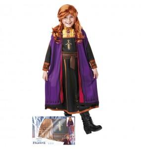 Costume da Anna Frozen con parrucca per bambina