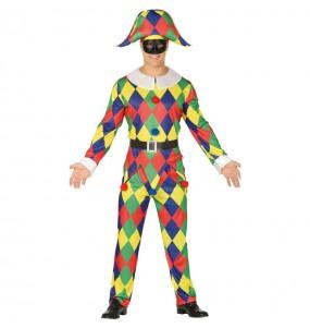 Travestimento Arlecchino Multicolore adulti per una serata in maschera