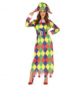 Travestimento Arlecchina Multicolore donna per divertirsi e fare festa