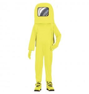 Costume da Astronauta Among us giallo per bambino
