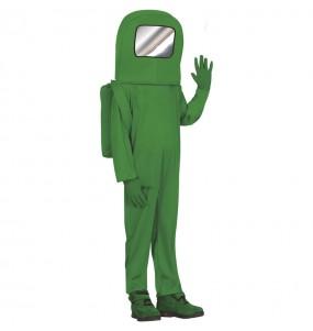 Costume da Astronauta Among us verde per bambino