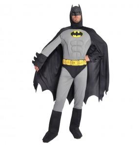 Costume da Batman muscoloso grigio per uomo