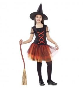 Vestito Strega zucca Fantasia bambine per una festa ad Halloween