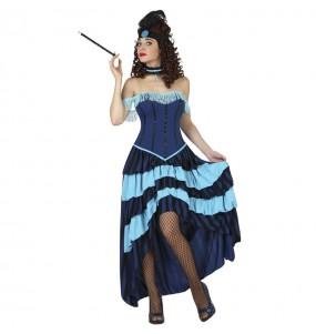 Costume da Cabaret blu per donna