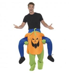 Travestimento adulto Zucca di Halloween a cavallucio per una serata in maschera