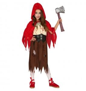 Vestito Cappuccetto rosso zombie bambine per una festa ad Halloween