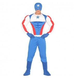 Travestimento Capitan America muscoloso adulti per una serata in maschera