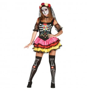 Costume Scheletro colorato Dia de los Muertos donna per una serata ad Halloween