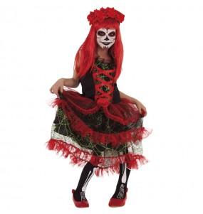 Costume da Catrina rossa per bambina