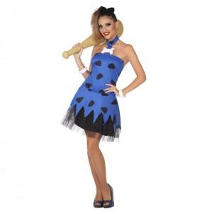 Travestimento Cavernicola Blu donna per divertirsi e fare festa