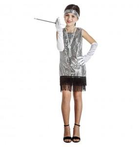 Costume da Charleston argentato con paillettes per bambina