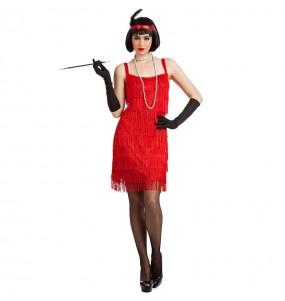 Travestimento Charleston Rosso con Frange donna per divertirsi e fare festa