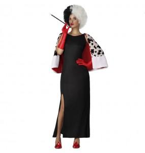 Costume da Crudelia de Vil con mantello per donna