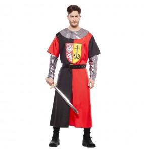 Travestimento Crociato medievale rosso adulti per una serata in maschera del Medievo