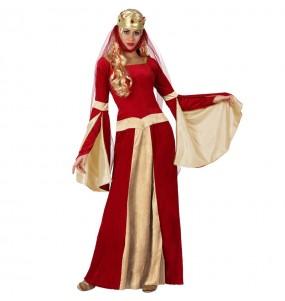 Travestimento Dama Medievale rossa donna per divertirsi e fare festa