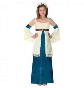 Travestimento Dama del Medioevo Blu bambina che più li piace