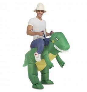 Travestimento adulto Dinosauro gonfiabile a cavallucio per una serata in maschera