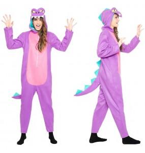 Travestimento Dinosauro Viola donna per divertirsi e fare festa