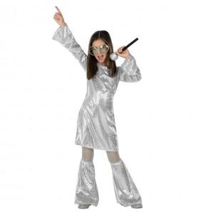 Costume da Disco argento con paillettes per bambina