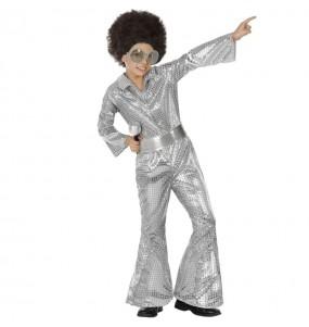 Costume da Disco argento con paillettes per bambino