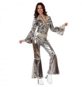Travestimento Disco Argento donna per divertirsi e fare festa