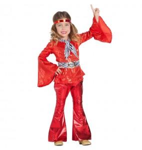 Costume da Disco Rosso per bambina