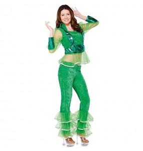 Travestimento Discoteca verde donna per divertirsi e fare festa