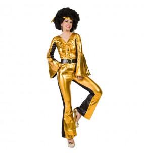 Travestimento Ballerina Disco Dorato donna per divertirsi e fare festa
