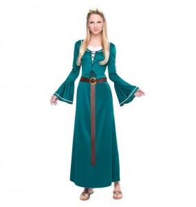 Travestimento Fanciulla Medievale Verde donna per divertirsi e fare festa