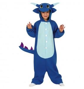 Travestimento Drago blu kigurumi bambini per una festa ad Halloween