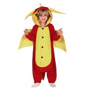 Travestimento Drago rosso kigurumi bambini per una festa ad Halloween